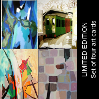 Limited edition set of four art cards featuring artwork by Douglas MacDiarmid