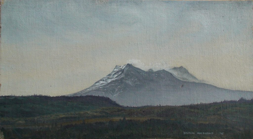 Ruapehu (1945) by Douglas MacDiarmid. Oil on board. Private collection, New Zealand