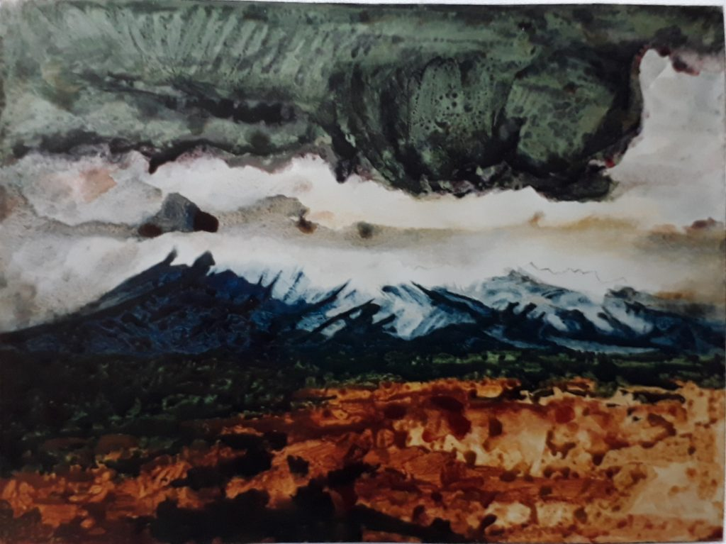 Ruapehu I (1990) by Douglas MacDiarmid, acrylic on paper, 77 x 66cm. Private collection, London.