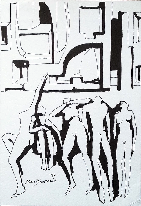 Megapolis (1992) by Douglas MacDiarmid, pen and ink drawing on paper