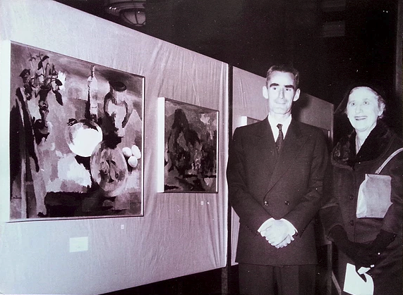 Photo of Douglas MacDiarmid and friend Ngaio Marsh at the opening of 1960 Commonwealth Show at Midland Park, London