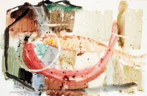 Goldfish (1963) by Douglas MacDiarmid, watercolour 300 x 470 mm. Image supplied by Art+Object, Auckland