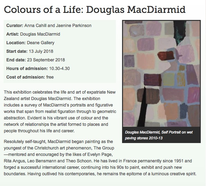 Colours of a Life: Douglas MacDiarmid exhibition at New Zealand Portrait Gallery