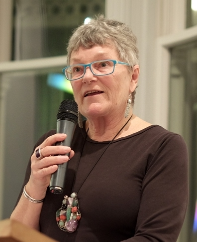 Biographer Anna Cahill speaking at the launch of Colours of a Life - the life and times of Douglas MacDiarmid at the Pah Homestead in Auckland, 18 July 2018. Photo credit: Mikel Hoyleg www.douglasmacdiarmid.com