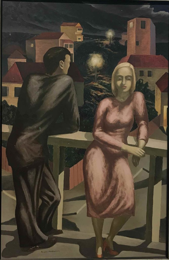 Figures at Night 1950 by Douglas MacDiarmid. Oil on aluminium paint on hardboard. Collection: Alexander Turnbull Library, Wellington, New Zealand. www.douglasmacdiarmid.com