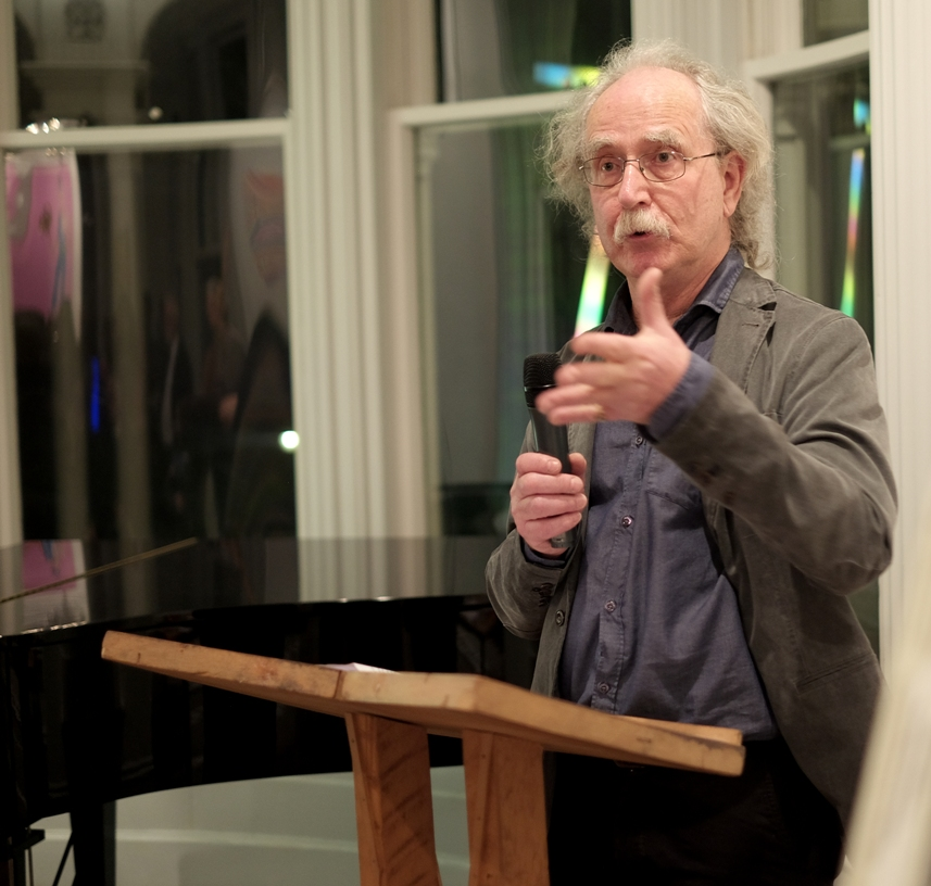 Len Bell addresses guests during the launch of Colours of a Life - the life and times of Douglas MacDiarmid, at James Wallace Arts Trust's Pah Homestead in Auckland.