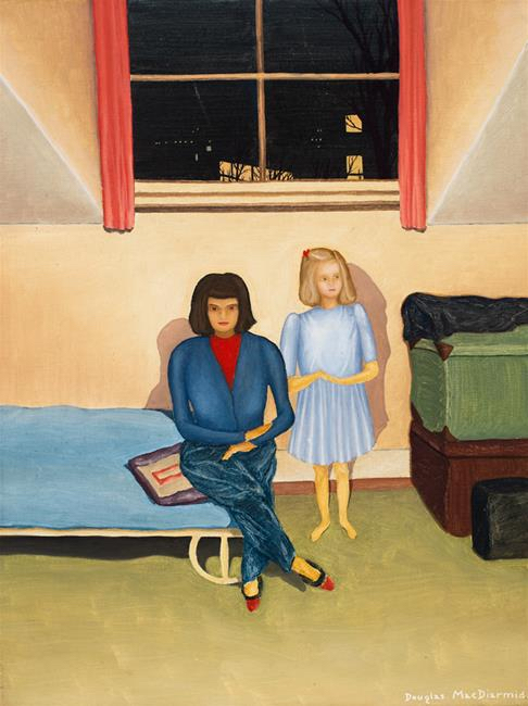 Woman and child in a room at night, London (1946) by Douglas MacDiarmid. Lark Family Collection, Wellington. www.douglasmacdiarmid.com
