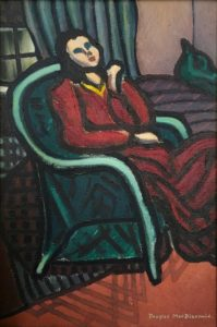 Girl in a Chair at Night 1947 (London) by Douglas MacDiarmid. Oil on canvas, 32 x 21cm. www.douglasmacdiarmid.com