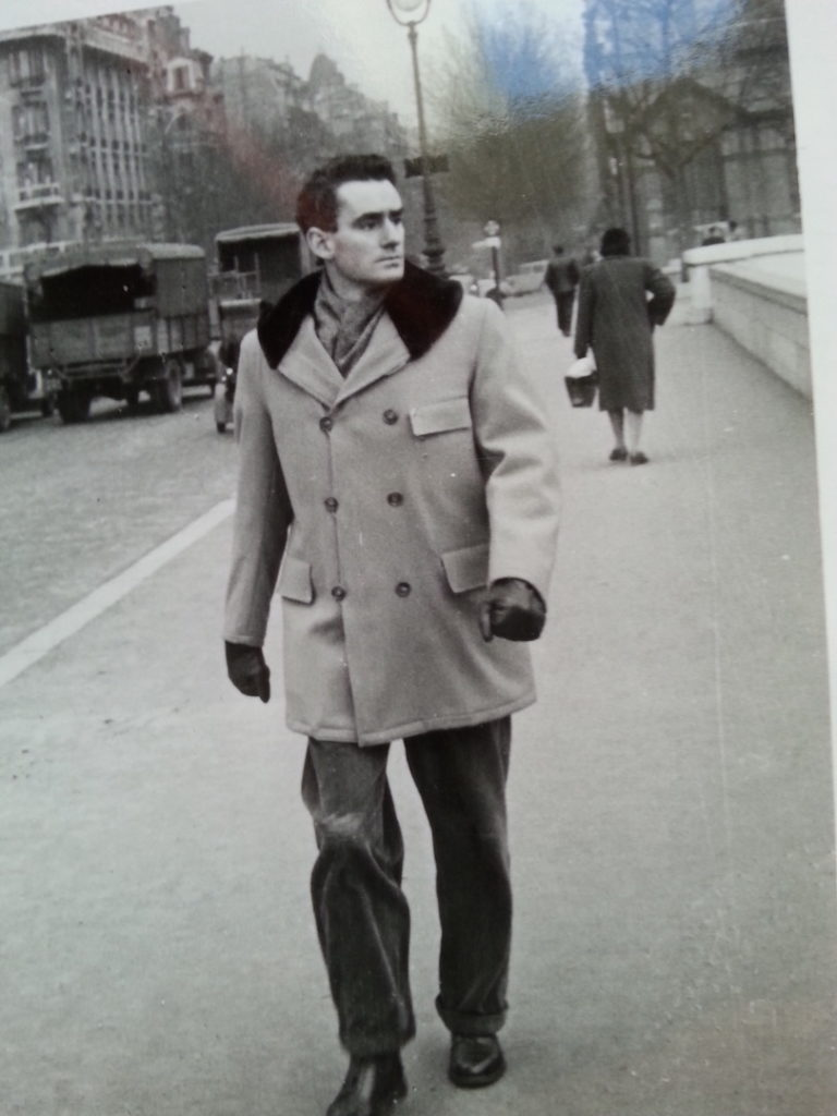 Douglas rugged up for winter. He walked all over Paris in his early days in France. This photo dates back to 1947-1948. www.douglasmacdiarmid.com