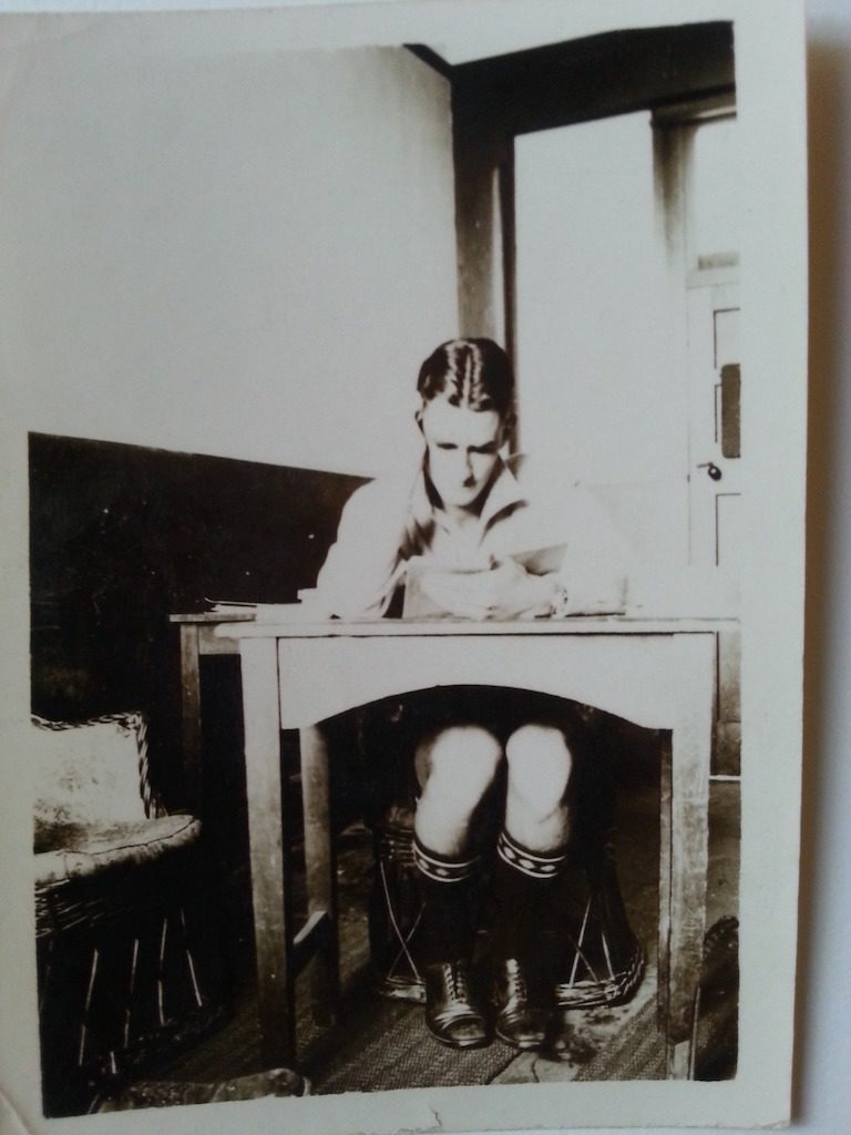 Douglas MacDiarmid at Timaru Boys High School (taken late-1930s). Boring or not, there was no escaping homework at boarding school.