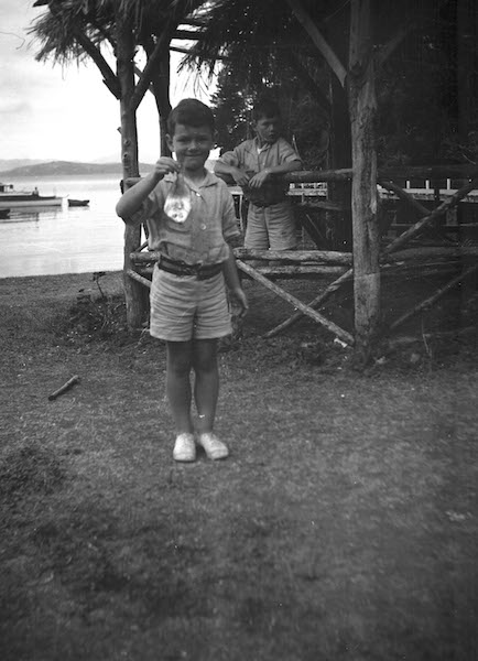 Douglas MacDiarmid proudly holding his first catch. Taken late-1920s.